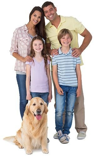 A family with their golden retriever.